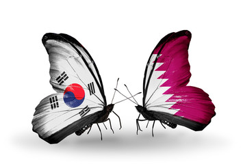 Two butterflies with flags South Korea and Qatar