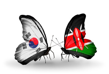Two butterflies with flags South Korea and Kenya