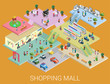 Flat 3d isometric shopping mall concept vector - 74321600