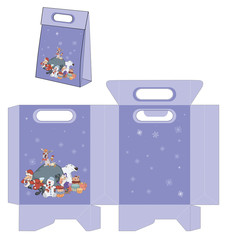 Santa Claus and his helpers. Handbags packages pattern