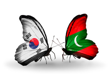 Two butterflies with flags  South Korea and Maldives