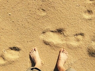 bare foot on sand