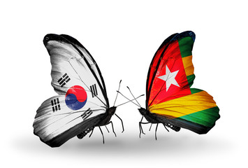 Two butterflies with flags South Korea and Togo