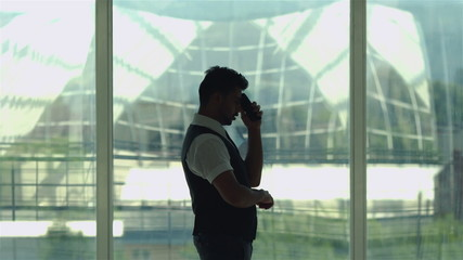 The businessman or office worker call by mobile phone
