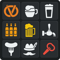 Set of 9 beer web and mobile icons. Vector.