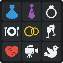 Set of 9 wedding web and mobile icons. Vector.