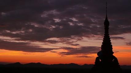 beautiful pagoda at sunset in Myanmar