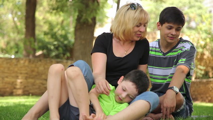 mother and the sons have fun in the park 2