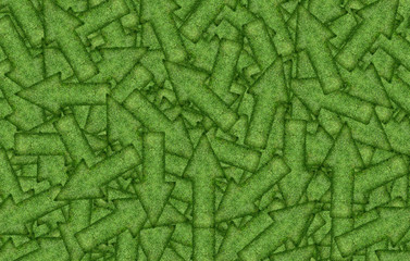 background of a variety of green arrows