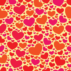 Seamless Valentine vector color background with hearts