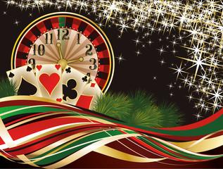 Christmas casino invitation background, vector