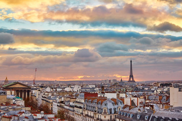 Parisian skyline with the Eiffel tower at sunset
