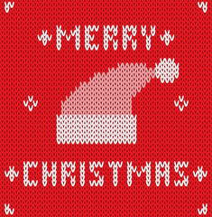 Christmas Card with knitted texture. Vector