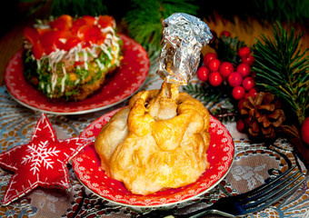Christmas food, baked chikens meat