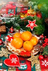 Christmas decor and mandarin