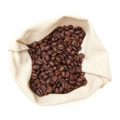 Coffee Beans in a white canvas bag
