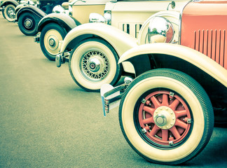 Vintage car wheels - Retro classic vehicle collection