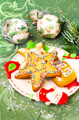 Christmas decorated cookies and decor