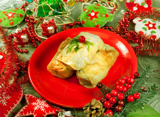 Christmas food. Stuffed cabbage