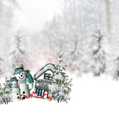 winter forest. Snowman and house. Christmas card