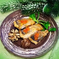 Christmas food - roasted fish