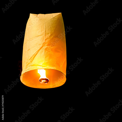 In de dag Vuur / Vlam Floating Lantern on dark sky background