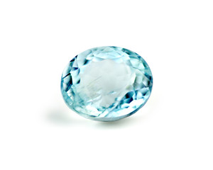 Blue aquamarine gemstone isolated on white