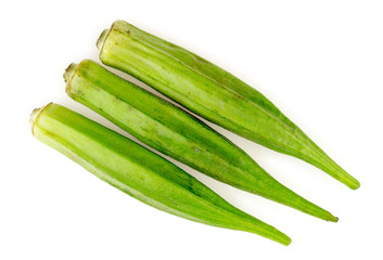 Fresh green okra isolated on white