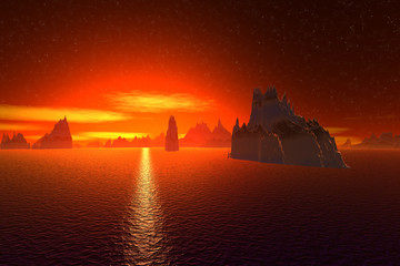 3D rendered fantasy alien planet. Sea and  sunset