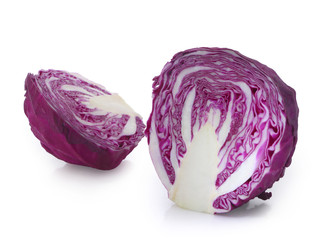 Half of red cabbage isolated on white.
