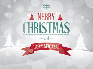 Merry Christmas landscape card vector