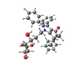 Atorvastatin molecule isolated on white
