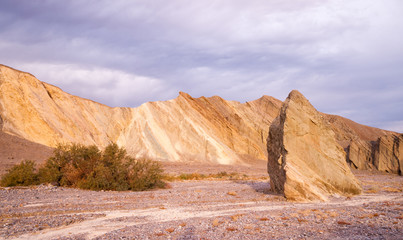 Colorful Rock Wall and Drainage Channel Death Valley
