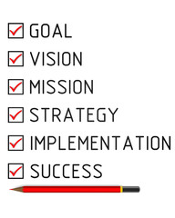Goal, vision, mission, strategy, implementation, success