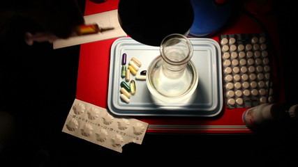 drug capsule pills, chemical laboratory, chemicals