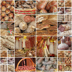 collage with italian regional meat victuals