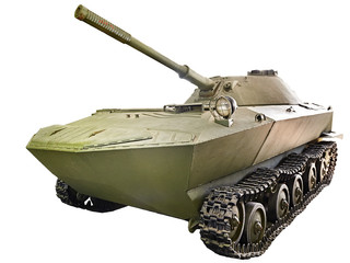 Experienced light amphibious tank K-90 isolated