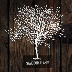 Tree Silhouette on Wooden Texture. Ecology Poster Concept
