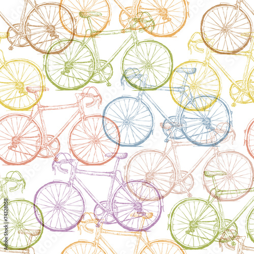 Materiał do szycia Vintage Bicycle Hand Drawn Seamless Pattern