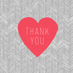 """Thank You"" Card with Heart Symbol on  Hand Drawn Pattern"