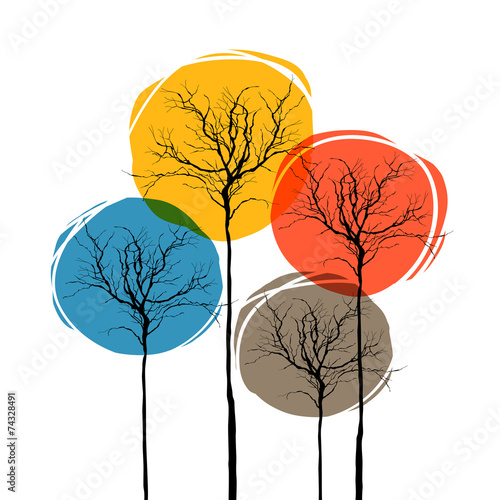 Abstract Trees On White. Seasons Concept © pashabo