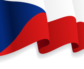 Background with waving Czech Flag. Vector