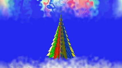 A Christmas tale.Colored Christmas tree.