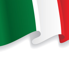 Background with waving Italian Flag. Vector