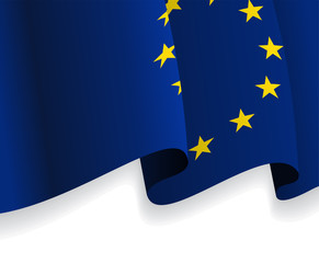 Background with waving European Union Flag. Vector