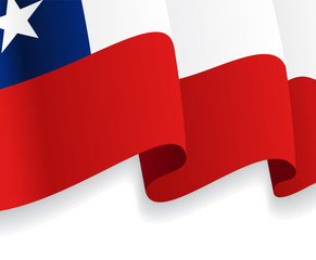 Background with waving Chile Flag. Vector
