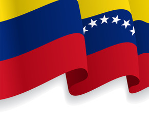 Background with waving Venezuelan Flag. Vector