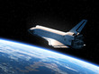 Leinwanddruck Bild - Space Shuttle Orbiting Earth