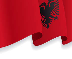 Background with waving Albanian Flag. Vector
