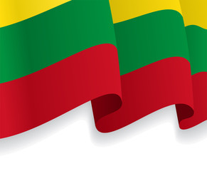Background with waving Lithuanian Flag. Vector